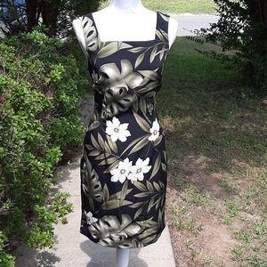 Green Floral Black Dress